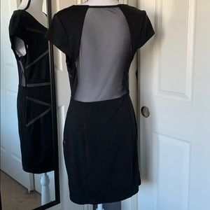 Aryn K Black sheer cutout mini dress